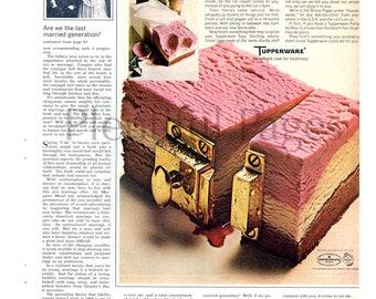 1969 Tupperware Vintage Ad, Advertising Art, Tupperware Party, Magazine Ad, Neapolitan Ice Cream, 1960's Tupperware, Great for Framing.