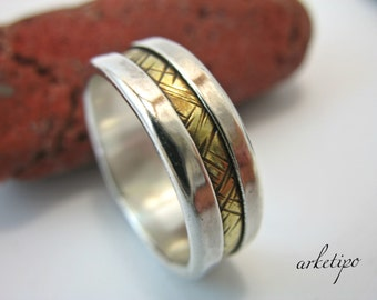 Personalized sterling silver and brass Ring - Wedding Band - Men's / Women's Ring.. Custom Ring.. Couples Ring.. Handmade