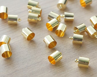 10 pcs of Gold Plated Brass End Cap - 14 x 10 mm