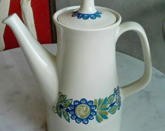 "Vintage Figgjo Flint Norway Coffeepot.  ""Tor Viking"" Pattern, Designed by Turi Gramstad Oliver at 1960's."