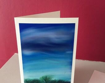 BLUSTERY DAY. Original Landscape Handmade Artist Greetings Card