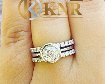 14k white gold round cut natural diamonds engagement ring and two bands bezel set style wedding set, bridal set halo 1.50ctw