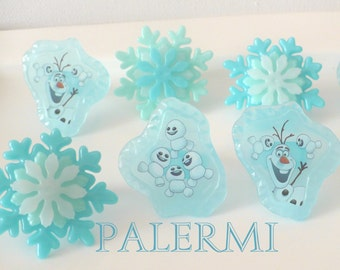 Frozen Olaf & Snow Flakes Cupcake Toppers Rings or Party Favors