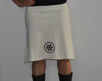 Organic skirt- Organic Cotton and Hemp Skirt with sacred geometry print - Seed of LIfe - You choose from 15 hand dyed colors