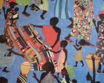 KNITTING BAG APRON - Made to Order - Julia Cairns Cranston Village Fabric African Scene - Please allow 3 weeks for delivery