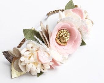 Flower Crown - Baby Flower Crown - Felt Flower Headband - Pink Baby Crown