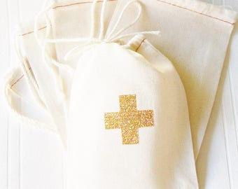 Hangover Kit, 4 x 6 inch drawstring gift bag,gold glitter first aid cross, bachelorette survival kit wedding birthday nurse cotton bag