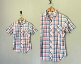 Vintage PLAID Shirt • 1980s Clothing • Classic Short Sleeve Pastel Check Button Up 80s Blouse • Pink White Blue Purple • Womens Small Medium
