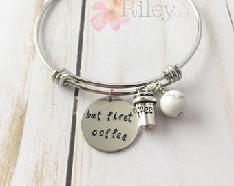 But first coffee charm Bracelet with marble bead - Coffee lover bangle - Coffee Gift - feel free to ask me questions!