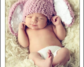 0 to 3m Newborn Baby Hat Easter Bunny Hat, Newborn Girl Bunny Ears Photo Prop, Newborn Hat, Crochet Baby Hat, Rose Bunny Costume Baby Gift