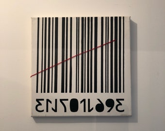 Painting on canvas - bar code