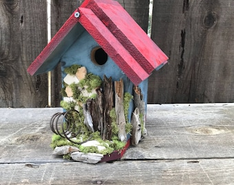 Birdhouse Handmade Wooden Bird House Hand Painted French Blue & Apple Red, White Washed Driftwood, Farmhouse Birdhouses, Item #587754157