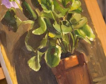 Original Oil Still Life- Petunia, 30.5x23 cm