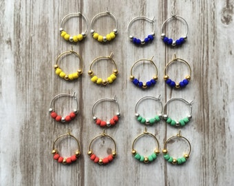 Earrings / hoops / Spring / yellow / blue / green / red