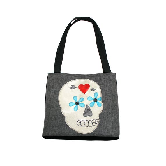 Sugar skull, glitter vinyl, Dia de los Muertos, Halloween, large tote, tote bag, travel bag