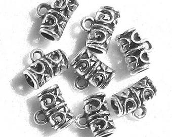 11.5x9mm - set 10/30 perforated cylinder/tube bails - silver