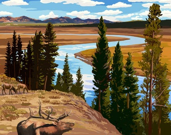 Yellowstone National Park, Wyoming - Yellowstone River & Elk - Lantern Press Artwork (Art Print - Multiple Sizes Available)