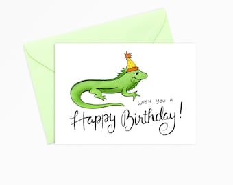 Printable Greeting Card - INSTANT DOWNLOAD - Iguana Wish You a Happy Birthday