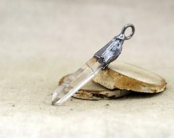 Quartz Pendant, Raw Quartz Pendant, copper electroformed pendant, copper pendant, quartz crystal, terminated quartz, 316