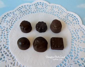 Fake Candy DARK Chocolate Bon Bons Truffles Set of Six Halloween Valentine's Display Food Prop Decor