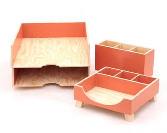 Orange Desk Organizer set, Desk Accessories for office, Paper tray, Office Desk 4 pcs set, Pen Holder, Orange Wood Desk Organizer, For him