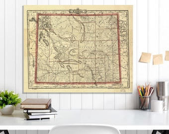 Wyoming State Map, Wyoming Map Canvas, Antiqued Wyoming Map, Canvas Wall Decor, Wyoming Wall Decor, Map of Wyoming Canvas