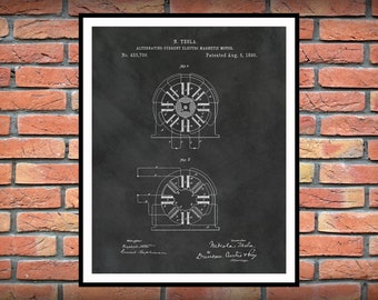 1890 Tesla Alternating Current Electromagnetic Motor Patent Print - Nikola Tesla Science - Engineer Gift - Technology Art - Tesla Invention