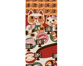 Tenugui Towel, Hand Dyed Fabric, Rien-zome, Fortune Cat