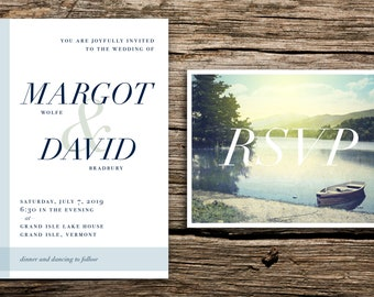 Tranquil Lake Wedding Invitation and RSVP // Modern Lake Wedding Invite Boat Lakeside Vermont Mountains Navy Dusty Blue Sage Striped Minimal