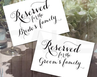 Printable Reserved Sign, Calligraphy wedding signs, Bride and Groom Reserved Signs,Wedding Reserved Sign, Printable reserved, Reserved sign,
