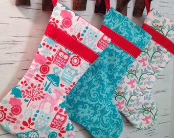 READY TO SHIP - Set of Three Modern Christmas Stockings in Turquoise, White and Red with Red Ribbon and Lining