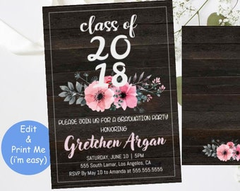 Graduation Invitation Template - College Invite Printable - High School Graduates Grad Announcement - Party Rustic Florals Instant Download