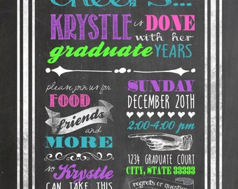 Vintage Chalkboard Bright Colors Customizable Graduation Announcement, digital printable 5x7 file