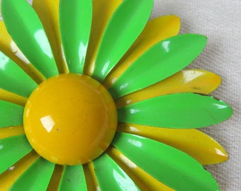 Vintage 1960s Tin Enamel Flower Pin 60s Bold Yellow and Lime Green Large Daisy MOD Flower Brooch