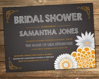 Chalkboard Bridal Shower Invitation, Orange, Gray, Grey, Rustic, Chalk, Chalkboard, Wedding Shower (PRINTABLE FILE)