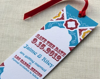 Mexico Save the Date - Mexican Talavera Tile - Mexico Wedding Bookmark