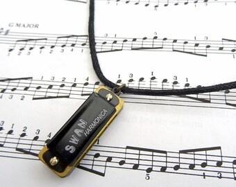 Harmonica necklace - black cord - real working playable mini harmonica