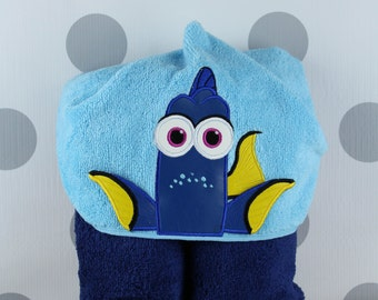 Toddler Hooded Towel - Blue Fish Dory Hooded Towel – Blue Fish Dory Towel for Bath, Beach, or Swimming Pool