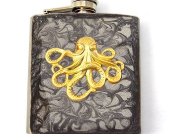 Steampunk Flask Octopus Inlaid in Hand painted Enamel Gray Smokey Design Neo Victorian Flask Custom Colors and Personalized Options