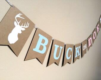 Buck or Doe Gender Reveal Baby Shower Banner - Boy or Girl - Pink or Blue