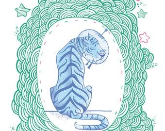 Space Tiger A4 Digital Illustration Print