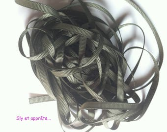 2 m of 6mm khaki green polyester Ribbon