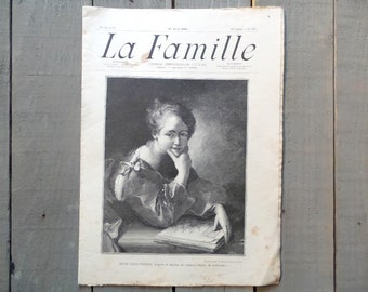 "1905 Vintage French Newspaper ""La Famille""  practical life, Fashion, Advertising, Illustrations, fiction etc.."