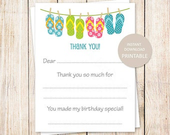 PRINTABLE thank you cards . flip flops . summer, beach, pool party . fill in the blank girls birthday thank you . Instant Download YOU PRINT