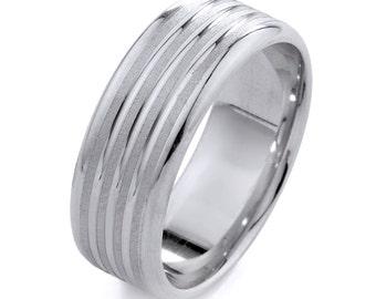 Mens Wedding Band, White Gold Band, Gold Mens Ring, Mens Wedding Jewelry, Mens Wedding  Ring, Mens Anniversary Band, Mens Engagement Rings