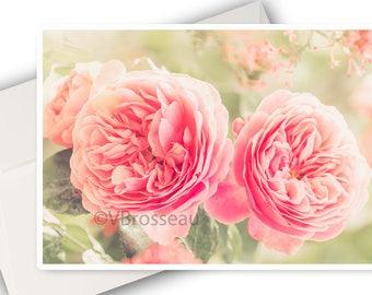 Romantic rose flower card, soft - pink flower greetings card - pink flower card - romantic card