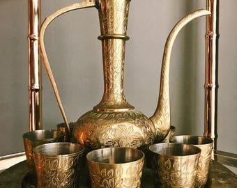 Vintage Ten-Piece Etched Brass Dallah + Matching Cordial Set w/ Tray / Hollywood Regency Brass Tea Set