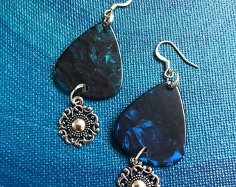 Blue Guitar Pick Earrings