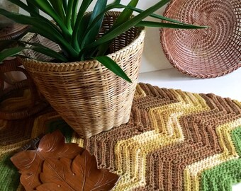 Vintage Bohemian Natural Light Bamboo Woven Planter Basket / Medium-Sized Indoor Planter Basket - Vintage Bohemian Decor