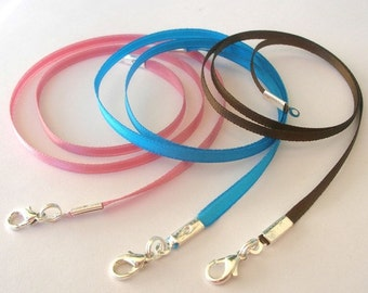 "6 pcs 1/8"" Satin Necklace Cords Any Length, Many Colors - Handmade in USA - Strong, Secure"